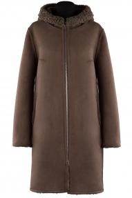 Пальто женское Queen`s wardrobe J10156 (кофе)