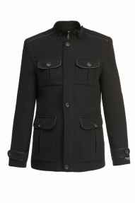 Пальто утепленное «Alexander» М-102  (черный, черно-серый)