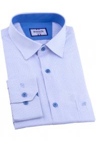 Сорочка мужская Bazzelli 1090-2CRC 2021 (белая, голубая полоска)