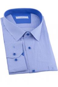 Сорочка мужская CARDUCHI 1101BT-2CRC 2021 (белая в васильковую полоску)