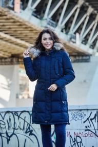 Куртка-аляска женская Scanndi DW19110 (темно-синяя)