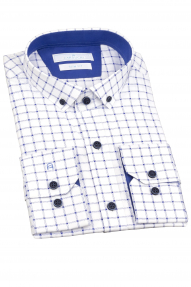 Сорочка мужская CARDUCHI 2022-35CRD  (белая в синюю клетку)