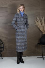 Пальто женское ZARYA GROUP M-791/8 (шоколадно-голубой, клетка)