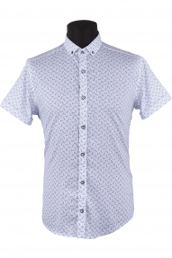 Сорочка мужская MCR 37608 (белый, синий принт)