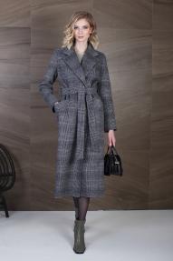 Пальто женское ZARYA GROUP M-791-1H (бордовый-серый, клетка)