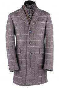 """Пальто мужское Van Cliff A50192 """"Аванти браун"""" (коричневый в клетку)"""