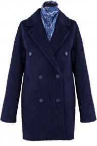 Пальто женское из Альпаки KROYYORK 519L (тёмно-синий)