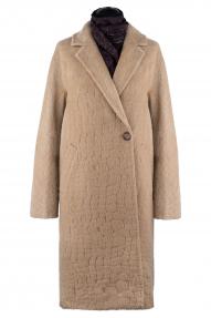 Пальто женское из Альпаки KROYYORK 521L (кэмел черепаха)