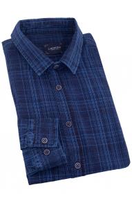 Рубашка мужская Lacarino 5943 (тёмно-синий в голубую полоску)