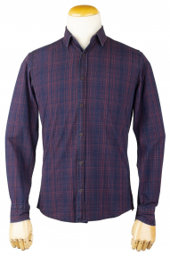 Рубашка муж. Lacarino 5943 (тёмно-синий в розовую полоску)