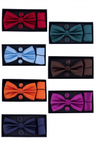 Набор бабочка/платок/запонки 690 (разные цвета)