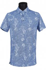 Рубашка поло мужская Bosmenti 9840 (васильковый с рисунком)