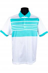 Рубашка поло мужская White House 141856 (белая с бирюзой)