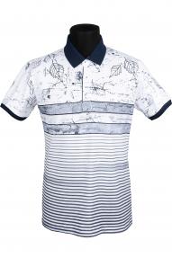 Рубашка поло FLP 0735 (белая в темно-синий принт)