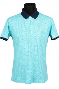 Рубашка поло FLP 0733 (бирюзовый с принтом)