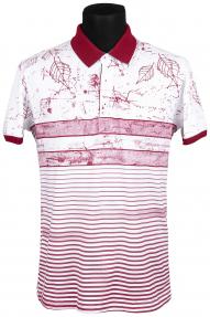 Рубашка поло FLP 0735 (белая с бордовым принтом)