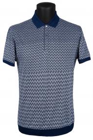 Рубашка поло Mennsler 020100 (серо-синий в орнамент)