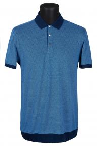 Рубашка поло мужская Mennsler 020110 (синий с принтом)