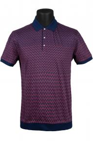 Рубашка поло Mennsler 020100 (синий/бордовый с орнаментом)