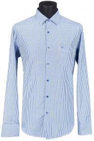 Рубашка мужская Bazzelli 2039-3CRC (сине-голубая клетка)