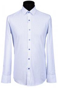 Сорочка Bazzelli 088-4CRD (белая в синий квадрат)