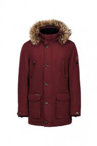 Куртка мужская зимняя North Bloom Наполеон (гранат) с натуральным мехом енота
