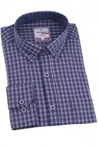 Рубашка мужская BIGNESS 010-1 (сине-бежевая клетка)